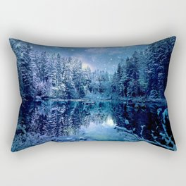 A Cold Winter's Night : Turquoise Teal Blue Winter Wonderland Rectangular Pillow