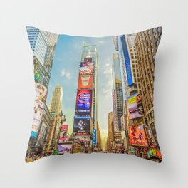 Times Square Hustle Throw Pillow