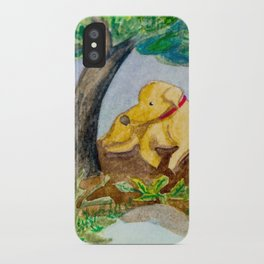 Watercolor dog resting iPhone Case