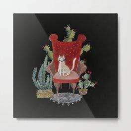 Armchair Cat with Cacti Metal Print