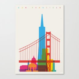 Shapes of San Francisco. Accurate to scale Canvas Print