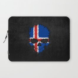 Flag of Iceland on a Chaotic Splatter Skull Laptop Sleeve