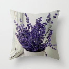 Lavender in the old window - blue floral photography wall art Throw Pillow