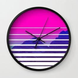 VAPORWAVE Sunset Mountains Scenery Wall Clock