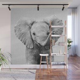 Baby Elephant - Black & White Wall Mural