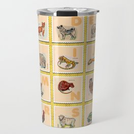 hand drawn animals poster for all English letters Travel Mug