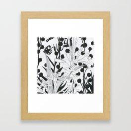 Vintage floral in black and white Framed Art Print