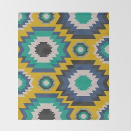Ethnic in blue, green and yellow Throw Blanket