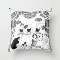 theatre Throw Pillows featuring theatre by mariana, a miserável(the miserable one)