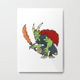 Demon Wield Fiery Sword Cartoon Metal Print