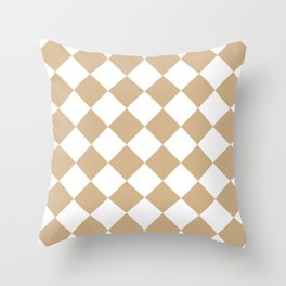 Large Diamonds - White and Tan Brown Throw Pillow