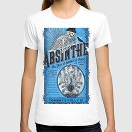 Vintage 1871 Absinthe Blue Liquor Skeleton Elixir Aperitif Cocktail Alcohol Advertisement Poster T-shirt