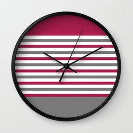 Red, White and Gray Stripes Wall Clock