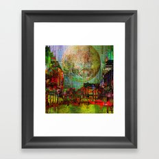 Moon on the city Framed Art Print