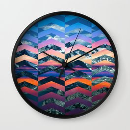 Sunsetting Mountains -Wide Chevrons Wall Clock