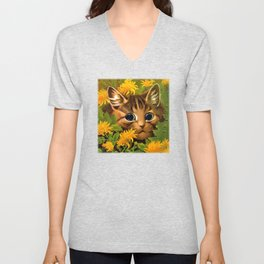 """Louis Wain's Cats """"Tabby in the Marigolds"""" Unisex V-Neck"""
