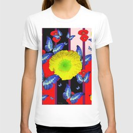 RED-BLACK  BLUE BUTTERFLY &  YELLOW FLOWER FLORAL T-shirt