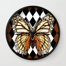 BLACK HARLEQUIN PATTERNED BROWN-WHITE  BUTTERFLY Wall Clock