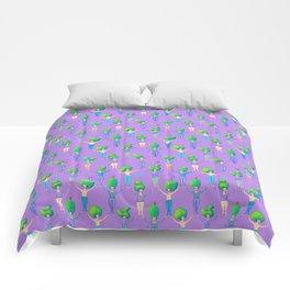Topiary Ladies on Purple Comforters