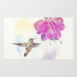 Hummingbird and fuchsia Flower watercolor painting Rug