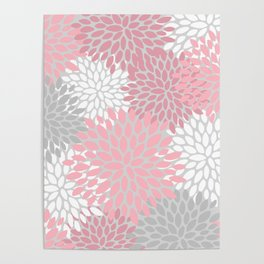 Floral Prints, Pink, White and Grey, Coloured Prints Poster