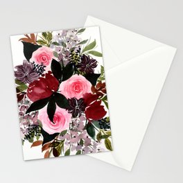 Burgundy Rose Flower Bouquet Stationery Cards