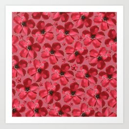 Red Flowers in Pink Art Print