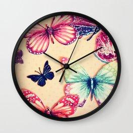 Rainbow butterflies Wall Clock