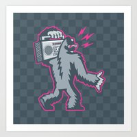 Big Foot with a Boombox Art Print