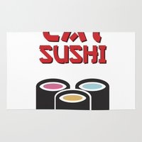 sushi Area & Throw Rugs featuring Sushi by flydesign