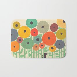 Cat in flower garden Bath Mat