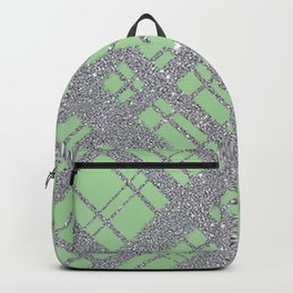 Silver Glitter Plaid on Lime Green Graphic Design Pattern Backpack