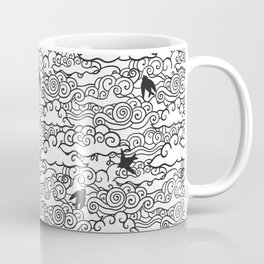 Doodle clouds and swallows. Cloudscape pattern with birds. Coffee Mug
