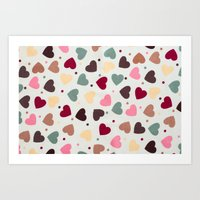 preppy Art Prints featuring Preppy Hearts by Welovepillows