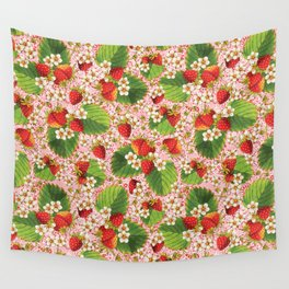 Pink Paisley Strawberries Wall Tapestry