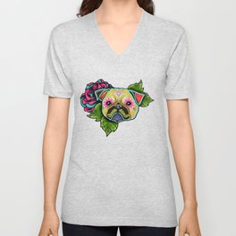 Pug in Fawn - Day of the Dead Sugar Skull Dog Unisex V-Neck