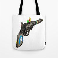 hippy Tote Bags featuring HIPPY GUN by kasi minami