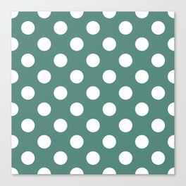 Wintergreen Dream - green - White Polka Dots - Pois Pattern Canvas Print