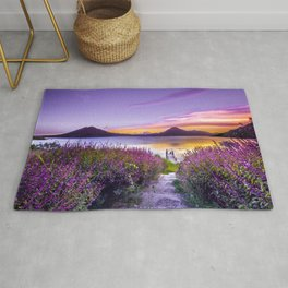 BROWN WOODEN DOCK BETWEEN LAVENDER FLOWER FIELD NEAR BODY OF WATER DURING GOLDEN HOUR Rug
