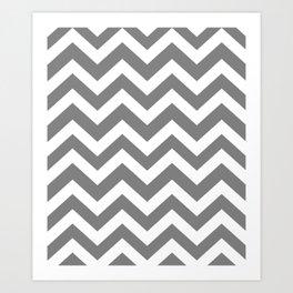 Gray (HTML/CSS gray) - grey color - Zigzag Chevron Pattern Art Print