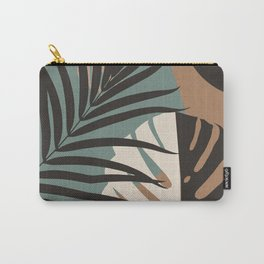 Minimal Yin Yang Monstera Fan Palm Finesse #4 #tropical #decor #art #society6 Carry-All Pouch