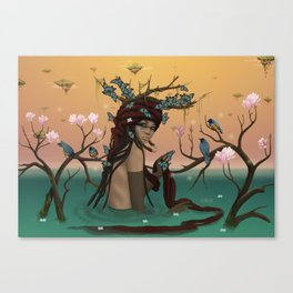 Guardian & starlings. Canvas Print