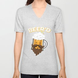 Beer'd - Funny Beard Mustache Beer Glass Hipster Unisex V-Neck