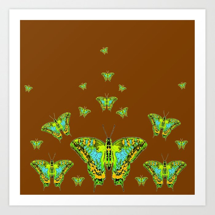 GREEN-YELLOW MOTHS ON COFFEE BROWN Art Print