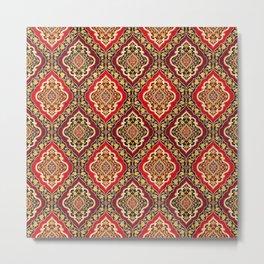 N168 - Heritage Vintage Geometric Moroccan Style Pattern Illustration Metal Print