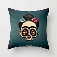 frida Throw Pillows featuring Frida by mangulica illustrations