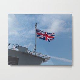 UNION JACK FLAG ON ROYAL NAVY SHIP Metal Print