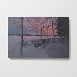 purple landscape / moody winter wonderland Metal Print