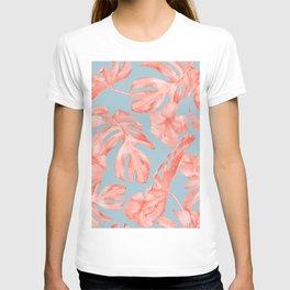 Island Life Coral on Light Blue T-shirt
