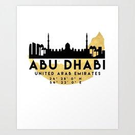 ABU DHABI UNITED ARAB EMIRATES SILHOUETTE SKYLINE MAP ART Art Print